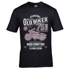 Drôle 75 Ans Motard Vintage Moto T-Shirt Hommes Haut 75th Cadeau Anniversaire