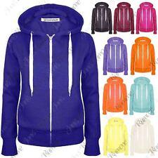 New Womens Plain Fleece Zip Up Hooded Jumper Warm Sweatshirt Hoody Jacket Hoodie
