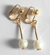 PRETTY WHITE GLASS PEARL & GOLDEN CLIP ON EARRINGS - (Hooks Options)