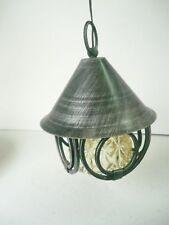 Lanterna lampada con catena vetro e ferro battuto