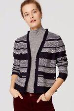 LOFT Navy and White Striped Fringe Trim Open Front Cardigan Sweater Jacket