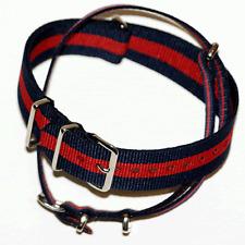 Blue / Red Stripe Nato Watch Strap: Pepsi: 18mm, 19mm, 20mm, 22mm or 24mm (FL18)