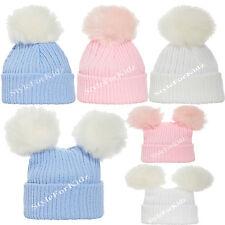 BABY BOYS GIRLS KNITTED FUR POMPOM HATS NEWBORN PINK WHITE BLUE 0-3 BOBBLE CAP