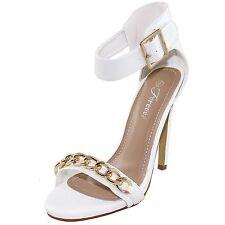 New women's shoes sandals high heel stilettos buckle platform white patent prom