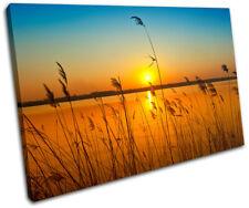 corn field Sunset Seascape SINGLE DOEK WALL ART foto afdrukken