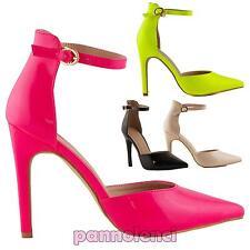 Zapatos de mujer corte salón tacones punta cinturón PULIDO nuevos IL1428-2
