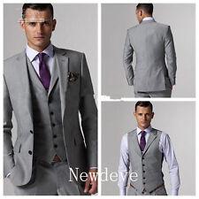 Custom Made Light Gray Men Wedding Suits Groom Tuxedos Formal Occasion Suit 3Pcs