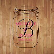 Mason Jar Wedding Monogram Dance Floor Decal Reception Vinyl Wall Decal Letters