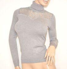 MAGLIETTA donna maglione GRIGIO collo alto ricamo manica lunga sottogiacca   Z55
