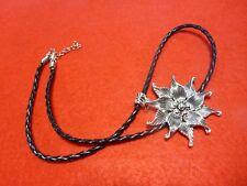 Elegant Silver Lotus Flower Pendant Necklace Black Plaited Leather Ladies Gents
