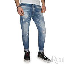 Pantaloni Jeans Uomo Casual Over-D Strappato Denim Cotone Stonewashed SARANI