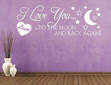 X1317 Wandtattoo Spruch / I Love You to the moon and back Liebe Wandaufkleber 1