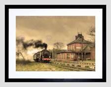 OLD RETRO STEAM TRAIN LOCOMOTIVE ENGINE BLACK FRAMED ART PRINT PICTURE B12X8034