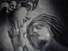 Los amantes de la pareja romántica Negro Blanco se enfrenta a grandes pintura al óleo lienzo arte clásico