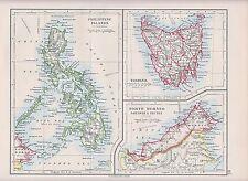1931 MAP ~ PHILIPPINE ISLANDS TASMANIA NORTH BORNEO SARAWAK & BRUNEI