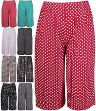 New Womens Elasticated Stretch Polka Dots Print Wide Leg Culottes Shorts 8 to 26