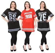 New Ladies Air Tech Varsity Baseball Print Baggy Sports T-Shirt Tops 8-26