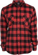 URBAN CLASSICS shirt à carreaux de flanelle NOIR-ROUGE NEUF bûcheron Chemise à à