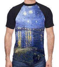 Van Gogh Starry Night Over the River Rhone Men's All Over Baseball T Shirt - Art