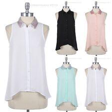 Sequins Collar Sheer Button Down Blouse High Low Hem Sleeveless Shirt Top Cute
