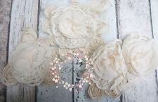 3 MIX Assorted Beige Chiffon Collar appliques *DIY clothes embellishment trim