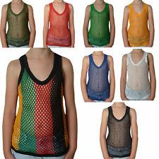 Crystal Childrens 100% Cotton Mesh Fishnet Fitted String Vest