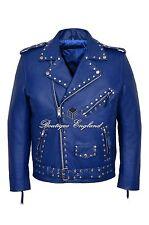 Men's Studded BRANDO Jacket Blue Classic Biker Style 100% REAL LEATHER MBF