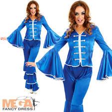 Blu Dancing Queen Donna Costume 70s 1970s Groovy Da Donna Adulti Costume NUOVO