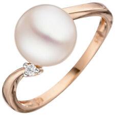 Anillo de mujer con perla Agua Dulce Blanco & Diamante Brillante, Oro 585 rojo