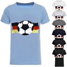 DEUTSCHLAND Jungen Kinder Wende Pailletten Fussball WM 2018 Fan T Shirt 22513