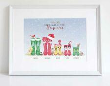 Personalised Christmas Wellington Welly Boot Family Tree Print Keepsake UNFRAMED
