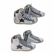 scarpe sneakers alte uomo pelle bianco grigio bicol stella sfumato Via  Condotti 11b69929add
