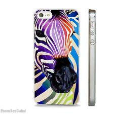 NEW FUNKY WATERCOLOUR ZEBRA CLEAR CASE FITS IPHONE 4 5 5S  5C 6 6S SE 7 & PLUS