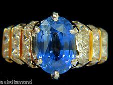 █$45,000 GIA 8.89CT NATURAL FINE SAPPHIRE DIAMOND RING CORNFLOWER CLASSIC 14KT █