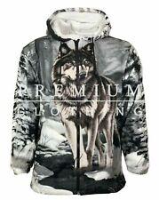 Mens Womens WOLF Hooded Fur Sherpa Fleece Jacket Thermal Thick Warm Work Coatt