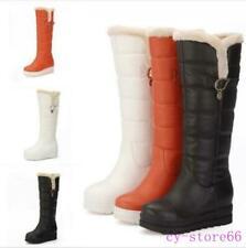 Womens Winter Snow Hidden Wedge Heel Boots Knee High Fleece Lined Shoes Platform