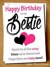 Funny Cheeky Happy Birthday Card Best Friend Bestie Novelty Girlie Girls Sister