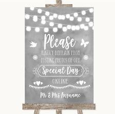Grey Watercolour Lights Don't Post Photos Online Social Media Wedding Sign