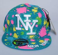 New York NY City Hunter Teal Paint Splash Hat Fitted Flat Peak Baseball Cap