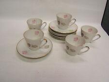 Edelstein China #21053 White w/ Gold Rim 5 Cups 6 Saucers Bavaria Vintage