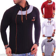 MAGLIA MASCHILE maglione scollo a V Felpa con cappuccio camicia lunga NUOVO