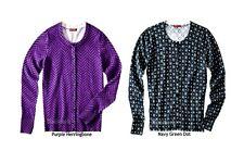 83L3 Choice Merona Ultimate Crew Neck Purple or Blue Dot Cardigan Sweater NWOT
