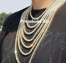 14k Gold IP Tennis Chain Choker Clear CZ Stones Men's Hip Hop Necklace
