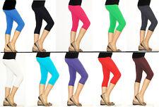 Kinder Mädchen Hose Capri Leggings Leggins 3/4 Knie blickdicht Baumwolle
