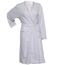 Ladies Lightweight White Waffle Texture Bath Robe Summer Spa Hotel Dressing Gown