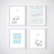 Elephant Nursery Room Decor, Kids Wall Prints, Blue or Pink *April Special*