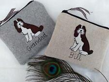 Moneda monedero billetera Spaniel Perro Personalizado Elección de lino o gris de tela y nombre