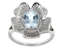 BLUE TOPAZ (GLACIER TM) STERLING SILVER FLOWER FLORAL RING! SIZE 7-11 USA! NEW!
