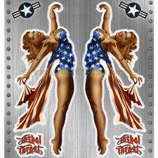 NOSE ART 50's MISS USA Pin-Up GIRL 6 STICKER/DECAL SET