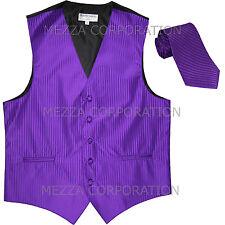 New Men's Tuxedo Vest Waistcoat Vertical Stripes Necktie prom party Purple